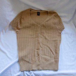 Gap Stretch Beige Knit Sweater XXL Short Sleeve